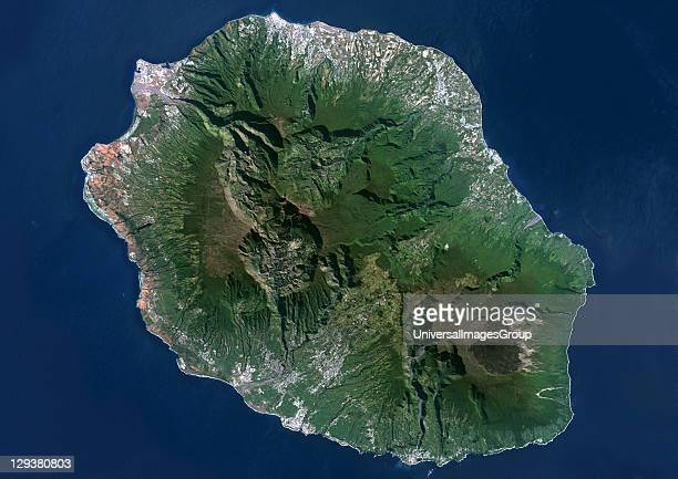 Reunion Island French overseas true colour satellite image Reunion island is made of two volcanos Piton des Neiges volcano the highest point on the...