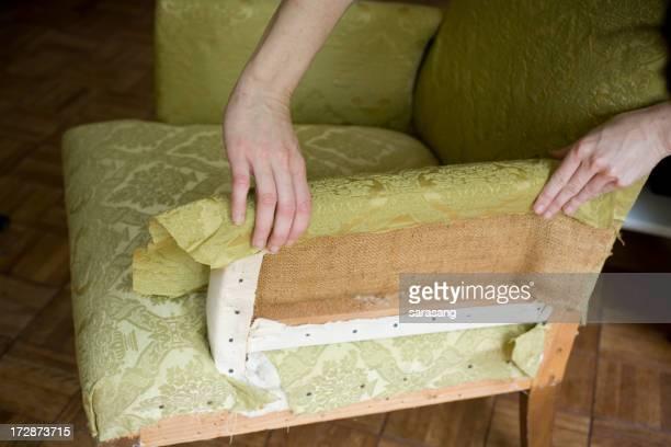 reupholster chaise avec tissu vert
