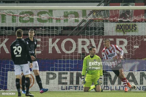 Reuven Niemeijer of Heracles Almelo Justin Hoogma of Heracles Almelo goalkeeper Bram Castro of Heracles Almelo Martin Pusic of Sparta Rotterdamduring...