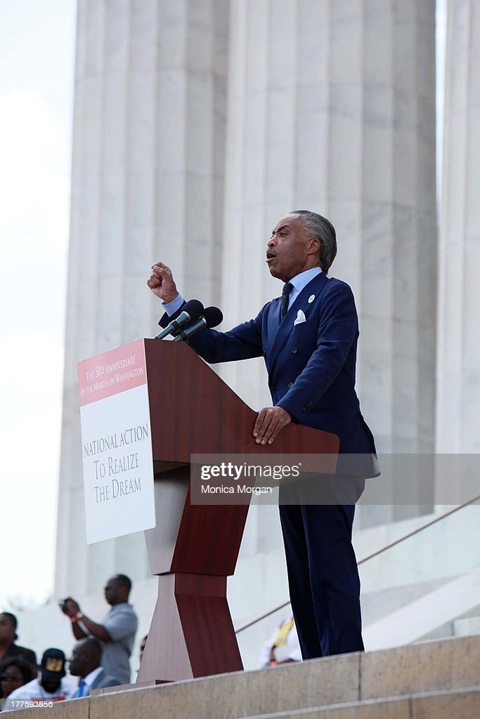 Rev. <a gi-track='captionPersonalityLinkClicked' href=/galleries/search?phrase=Al+Sharpton&family=editorial&specificpeople=202250 ng-click='$event.stopPropagation()'>Al Sharpton</a> attends the 50th Anniversary Of Martin Luther King's March On Washington on August 24, 2013 in Washington, DC.