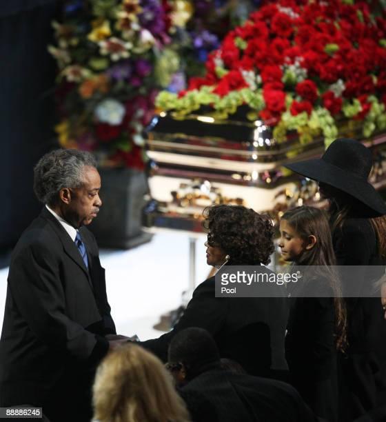 Rev Al Sharpton greets Michael Jackson's mother Katherine Jackson his daughter Paris Jackson and his sister LaToya Jackson at the Michael Jackson...