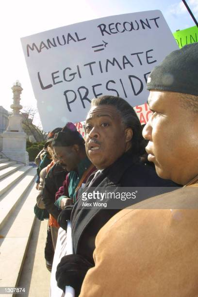 Rev Al Sharpton joins protesters against Republican presidential candidate George W Bush during a demonstration December 1 2000 outside the US...