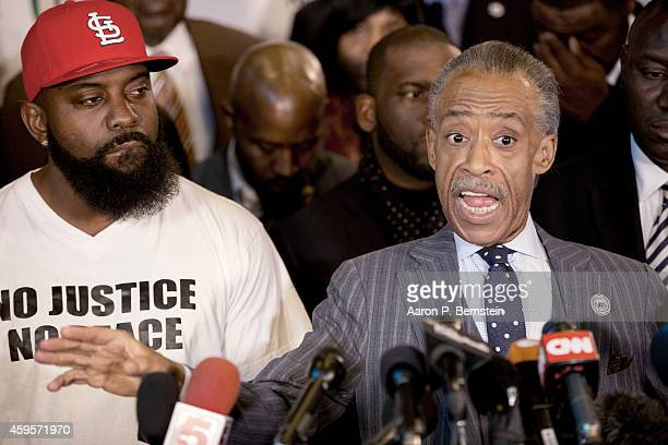 Rev Al Sharpton speaks during a press conference at Greater St Marks Church as Michael Brown Sr looks on November 25 2014 in Dellwood Missouri...