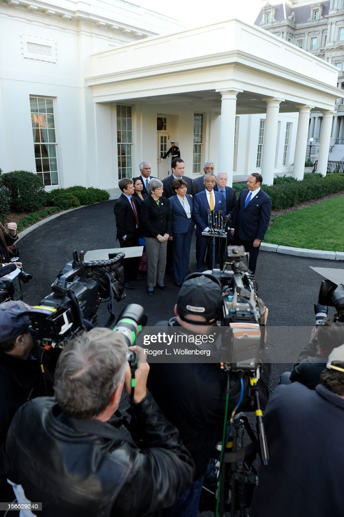 Rev. Al Sharpton speaks to the media after leaders of civic organizations and other outside groups met with U.S. President Barack Obama at the White House on November 16, 2012 in Washington, DC. The meeting focused on economic concerns, taxes and health care.