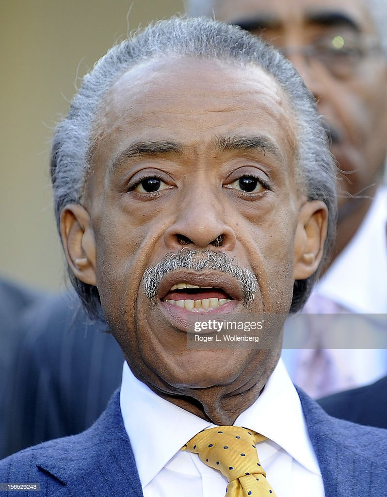 Rev. <a gi-track='captionPersonalityLinkClicked' href=/galleries/search?phrase=Al+Sharpton&family=editorial&specificpeople=202250 ng-click='$event.stopPropagation()'>Al Sharpton</a> speaks to the media after leaders of civic organizations and other outside groups met with U.S. President Barack Obama at the White House on November 16, 2012 in Washington, DC. The meeting focused on economic concerns, taxes and health care.