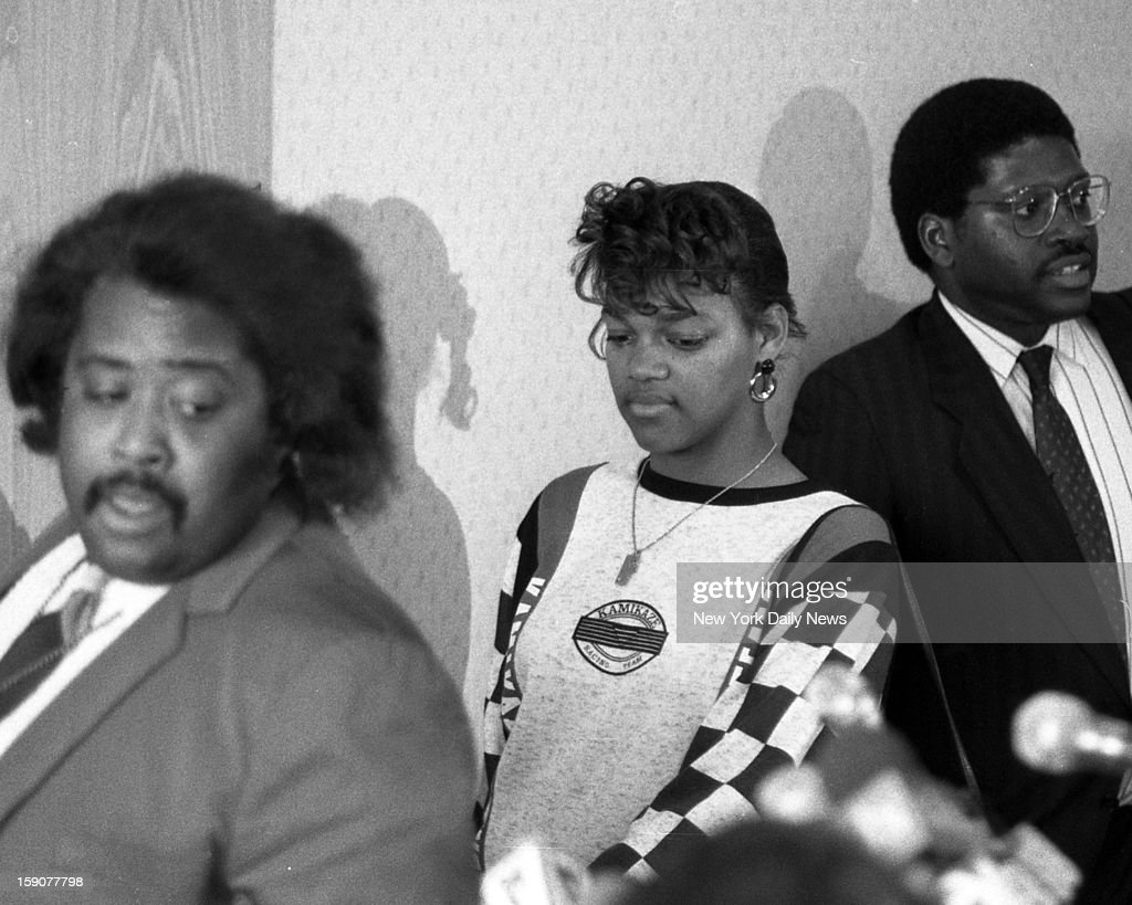 Rev. Al Sharpton, Tawana Brawley and Alton Maddox at press conference.