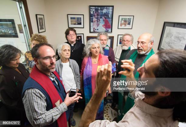 Rev Alan EwingMerrill of Hope Gateway church in Portland is videotaped by Jay OHara a Quaker clergyman of China Maine about why he and other members...