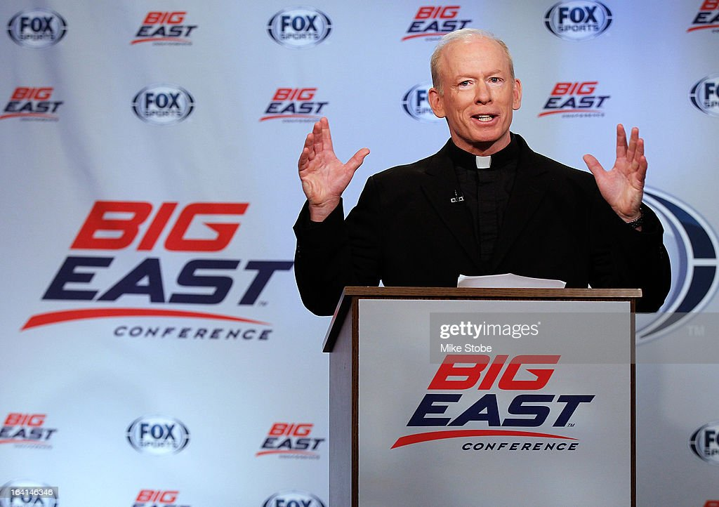 Rev. Brian J. Shanley, President of Providence University, speaks to the media during the New Big East Conference & Fox Sports Media Group Press Event on March 20, 2013 in New York City.