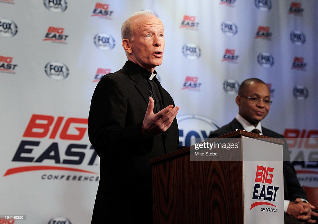Rev. Brian J. Shanley, President of Providence University speaks to the media during the New Big East Conference & Fox Sports Media Group Press Event on March 20, 2013 in New York City.