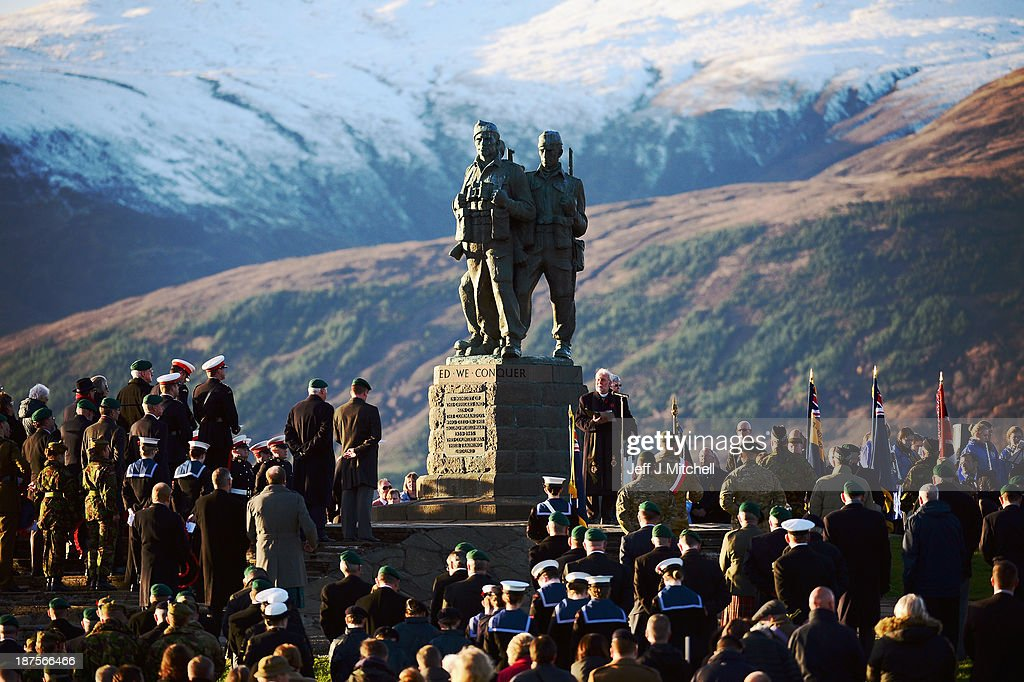 Rev Dr Adrian Varwell takes the Commando Memorial Service, commandos gather to commemorate and pay respect to the sacrifice of service men and women who fought in the two World Wars and subsequent conflicts on November 10, 2013 in Spean Bridge, Scotland. People across the UK will gather to pay tribute to service personnel who have died during conflicts, as part of the annual Remembrance Sunday ceremonies.