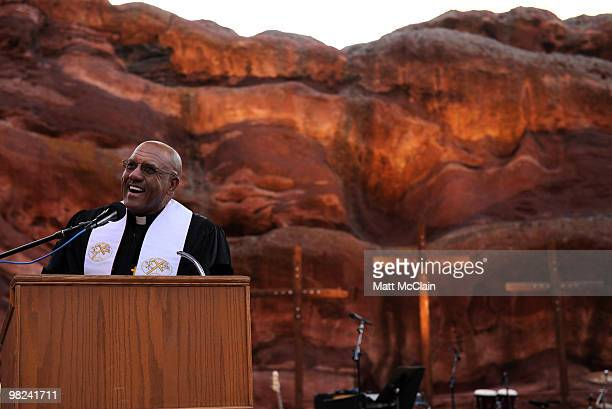 Rev Hollis Booker gives the sermon from Matthew 28 during the sixtythird annual Easter Sunrise Service at Red Rocks Amphitheatre on April 4 2010 in...