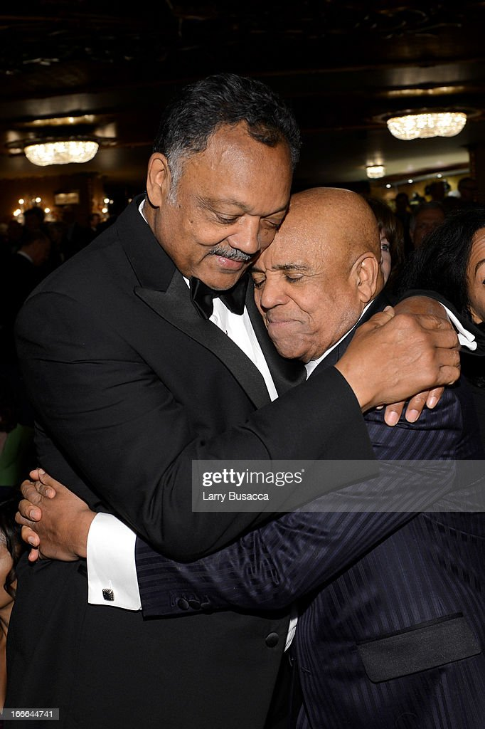Rev. Jesse Jackson and Berry Gordy attend 'Motown: The Musical' Opening Night at Lunt-Fontanne Theatre on April 14, 2013 in New York City.