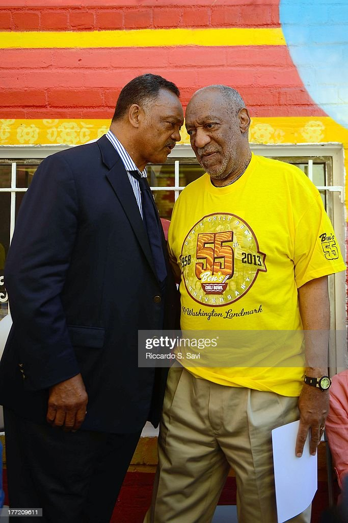 Rev. Jesse Jackson and Bill Cosby (R) speak at the 55th Anniversary of Ben's Chili Bowl on August 22, 2013 in Washington, DC.