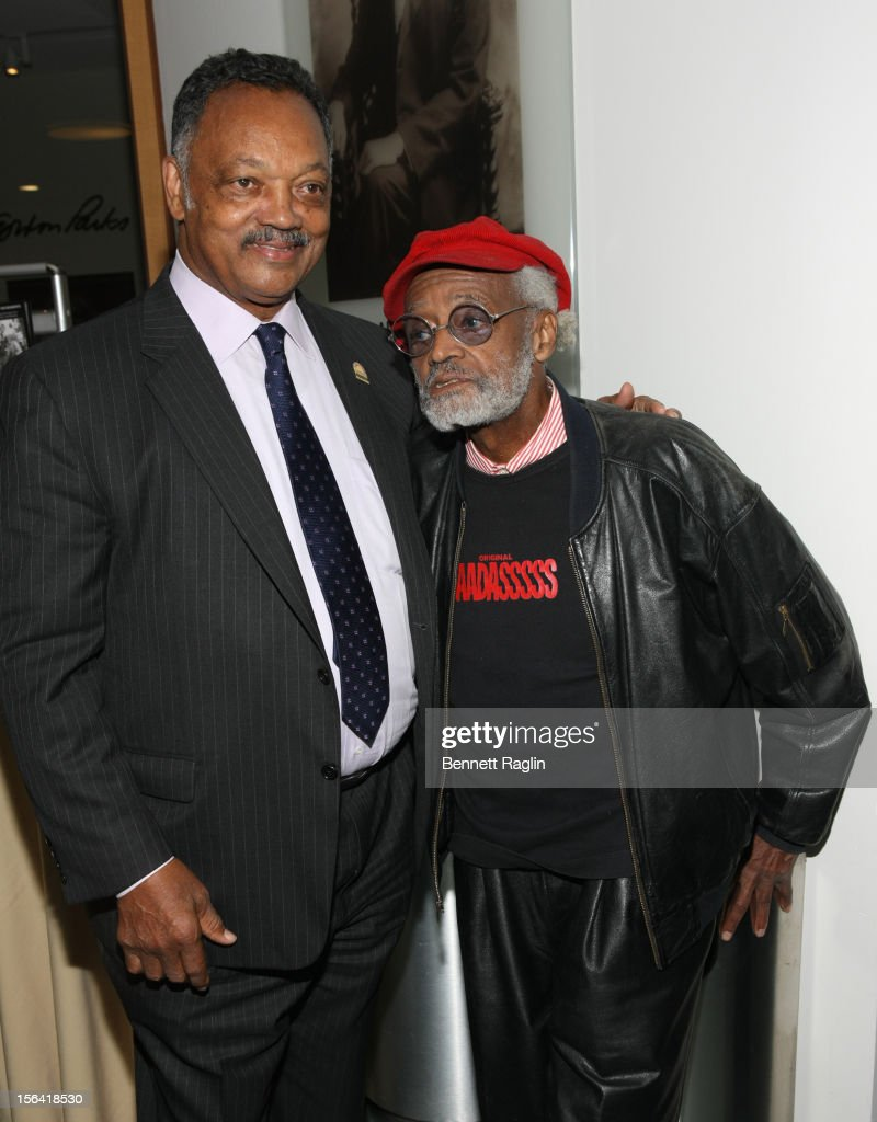 Rev. Jesse Jackson and <a gi-track='captionPersonalityLinkClicked' href=/galleries/search?phrase=Melvin+Van+Peebles&family=editorial&specificpeople=209389 ng-click='$event.stopPropagation()'>Melvin Van Peebles</a> attends the 'Life's Essentials With Ruby Dee' screening at The Schomburg Center for Research in Black Culture on November 14, 2012 in New York City.