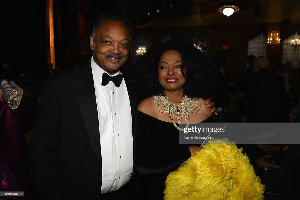 Rev. Jesse Jackson and performer <a gi-track='captionPersonalityLinkClicked' href=/galleries/search?phrase=Diana+Ross&family=editorial&specificpeople=202836 ng-click='$event.stopPropagation()'>Diana Ross</a> attend 'Motown: The Musical' Opening Night at Lunt-Fontanne Theatre on April 14, 2013 in New York City.