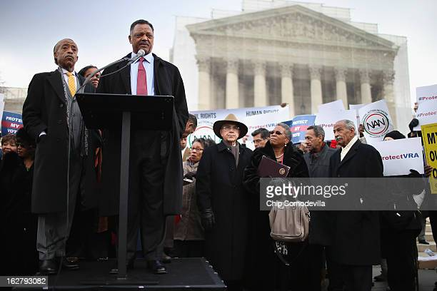 Rev Jesse Jackson and Rev Al Sharpton deliver remarks during a rally on the steps of the US Supreme Court February 27 2013 in Washington DC Leaders...