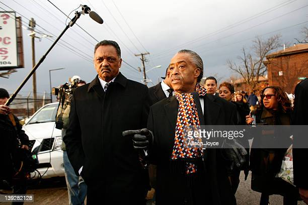 Rev Jesse Jackson and Rev Al Sharpton leave Whitney Houston's funeral at New Hope Baptist Church on February 18 2012 in Newark New Jersey Whitney...