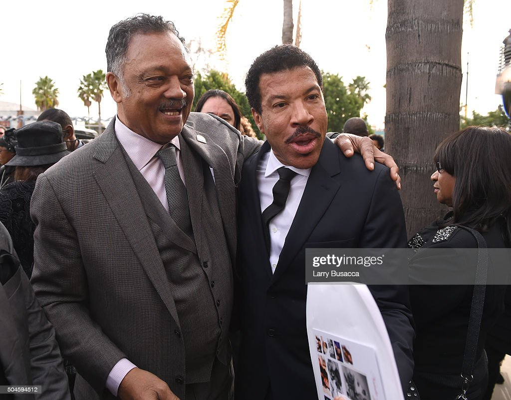 Rev. Jesse Jackson and singer-songwriter <a gi-track='captionPersonalityLinkClicked' href=/galleries/search?phrase=Lionel+Richie&family=editorial&specificpeople=204139 ng-click='$event.stopPropagation()'>Lionel Richie</a> attend a Celebration Of Natalie Cole's Life at the West Angeles Church of God in Christ on January 11, 2016 in Los Angeles, California.
