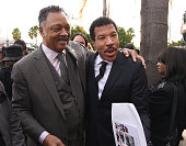 Rev Jesse Jackson and singersongwriter Lionel Richie attend a Celebration Of Natalie Cole's Life at the West Angeles Church of God in Christ on...