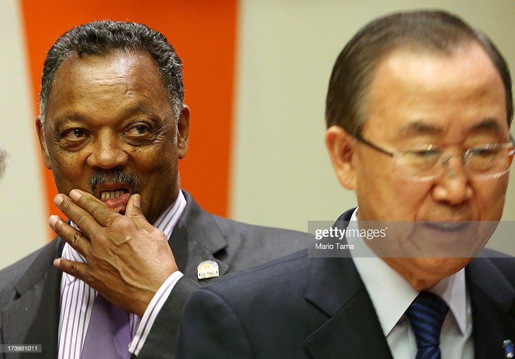 Rev. Jesse Jackson (L) and United Nations Secretary-General Ban Ki-moon stand before the start of an informal meeting of the plenary of the General Assembly, on the commemoration of the Nelson Mandela International Day, at U.N. headquarters on July 18, 2013 in New York City. South Africa's first black president and anti-apartheid leader turns 95 today on his 41st day in the hospital.