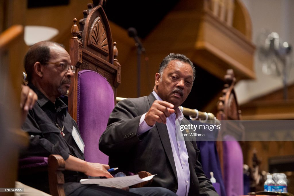 Rev. Jesse Jackson appears in the Metropolitan African Methodist Episcopal Church on M Street, NW, for a pre-rally before a march to the White House to protest what is seen as President Obama's lack of action in addressing a variety of problems in black communities.