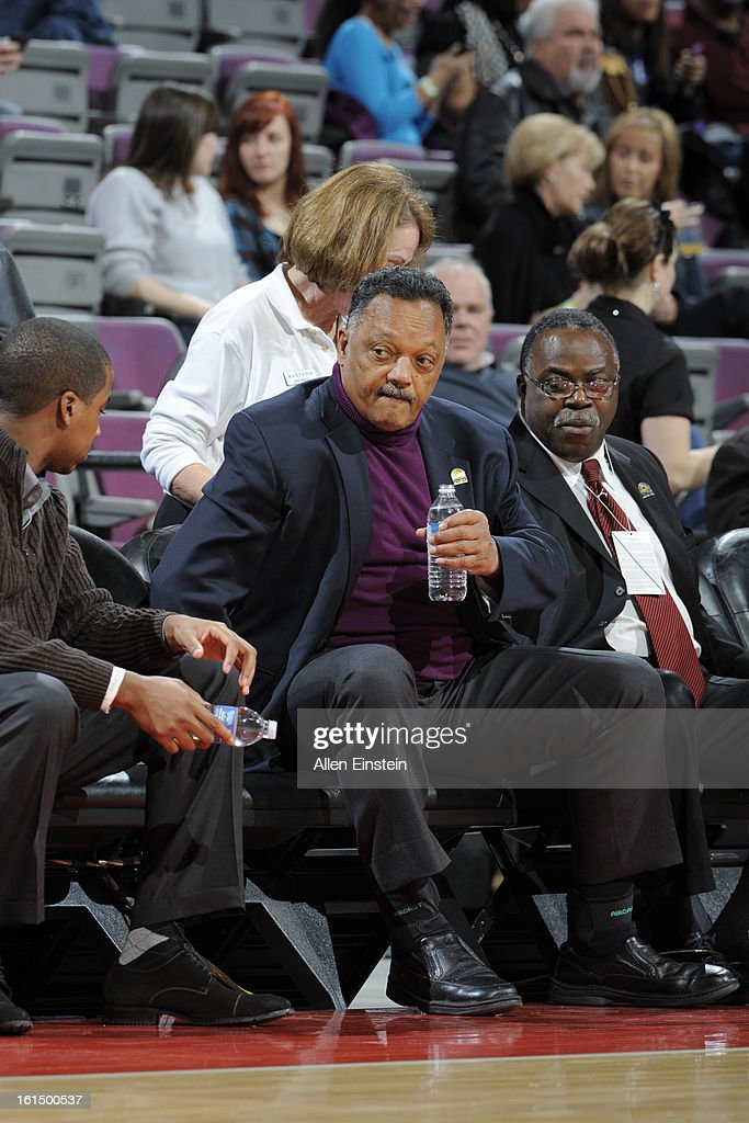 Rev. Jesse Jackson attends the game between the New Orleans Hornets and the Detroit Pistons on February 11, 2013 at The Palace of Auburn Hills in Auburn Hills, Michigan.