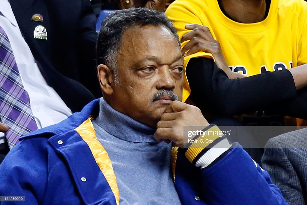 Rev. Jesse Jackson attends the second round of the 2013 NCAA Men's Basketball Tournament between the Louisville Cardinals and the North Carolina A&T Aggies at the Rupp Arena on March 21, 2013 in Lexington, Kentucky.