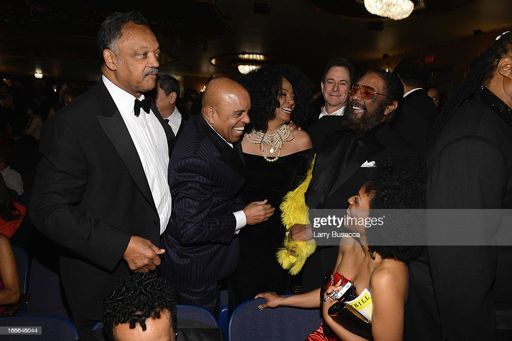 Rev. Jesse Jackson, Berry Gordy and Diana Ross attend 'Motown: The Musical' Opening Night at Lunt-Fontanne Theatre on April 14, 2013 in New York City.