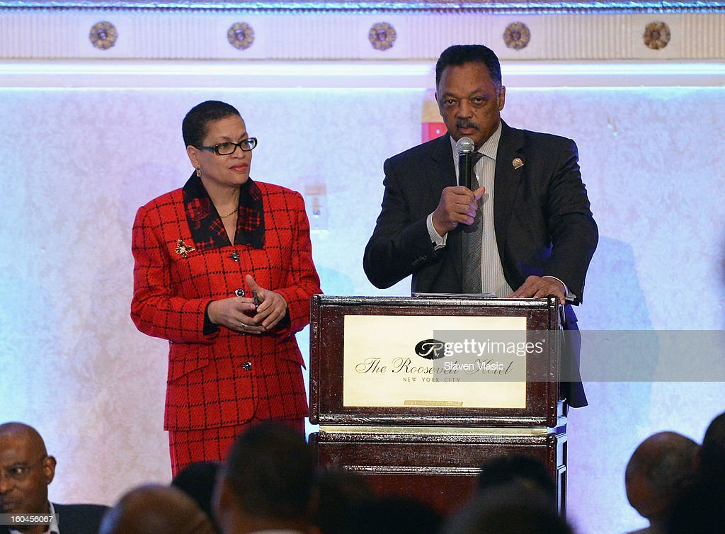 Rev. Jesse Jackson (R), founder and president of the Rainbow PUSH Coalition and organizer of the WSP attends the 16th Annual Wall Street Project 'Access To Captial' luncheon at The Roosevelt Hotel on January 31, 2013 in New York City.