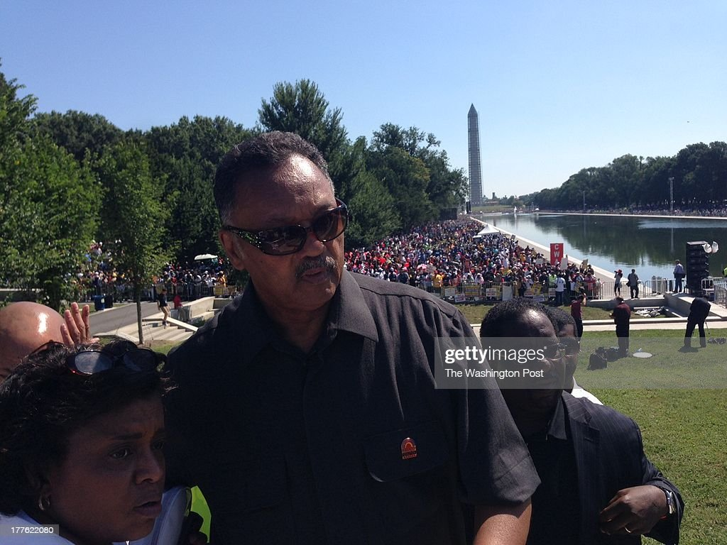Rev. Jesse Jackson greet well- wishers at the Lincoln Memorial during the 50th March On Washington Anniversary in Washington, D.C. on August 24, 2013.