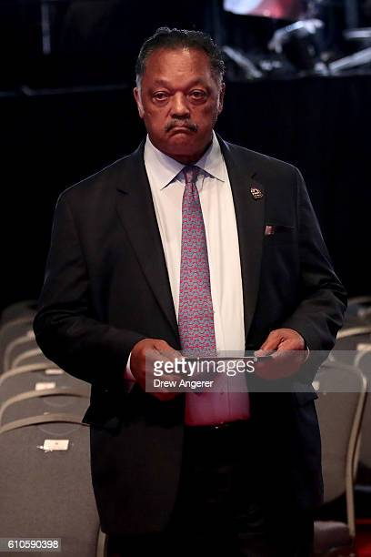 Rev Jesse Jackson look on prior to the start of the Presidential Debate at Hofstra University on September 26 2016 in Hempstead New York The first of...