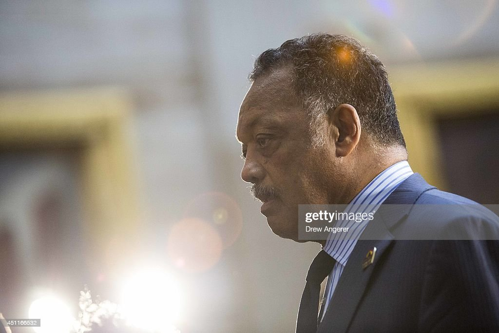 Rev. Jesse Jackson looks on prior to the start of a ceremony to posthumously award the Congressional Gold Medal Dr. Martin Luther King, Jr. and Coretta Scott King, on Capitol Hill, June 24, 2014 in Washington, DC. The Congressional Gold Medal is Congress's highest civilian honor.