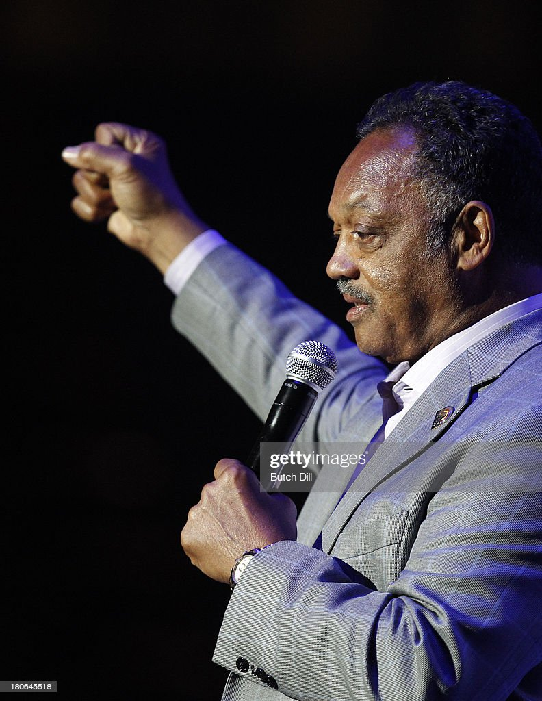 Rev. Jesse Jackson speaks during the BBVA Compass Concert for Human Rights hosted by Jamie Foxx at the Birmingham Jefferson Convention Center on September 14, 2013 in Birmingham, Alabama.