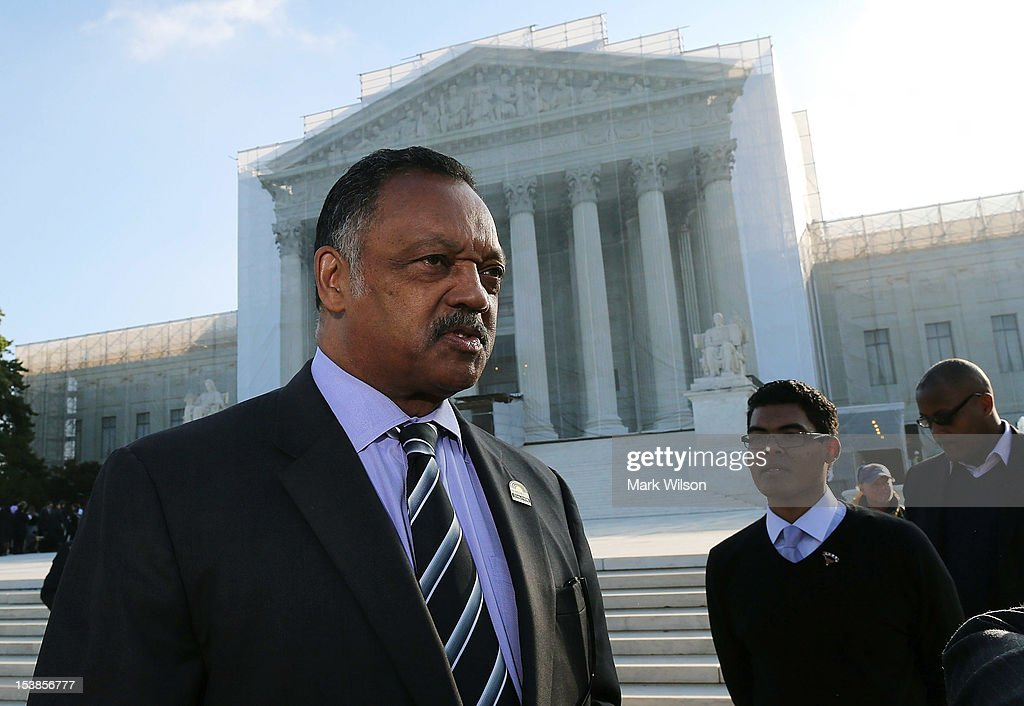 Rev Jesse Jackson Sr stands in front of the U.S. Supreme Court on October 10, 2012 in Washington, DC. Today the high court is scheduled to hear arguments on Fisher V. University of Texas at Austin, and are tasked with ruling on whether the university's consideration of race in admissions is constitutional.