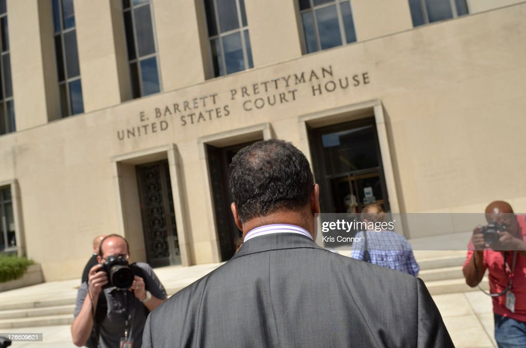 Rev. Jesse Jackson walks away from a press conference outside the E. Barrett Prettyman United States Court House after his son former Rep. Jesse Jackson Jr. and his wife Sandi Jackson were sentenced for using $750,000 in campaign money to pay for living expense, clothing and luxury items on August 14, 2013 in Washington, DC. The former Illinois congressman was sentenced to 30 months in prision and his wife received a 12-month prison term.