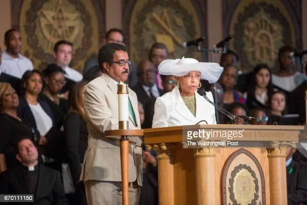 Rev Leroy Baker left and Onita EstesHicks speak during a Liturgy of Remembrance Contrition and Hope at Gaston Hall on the campus of Georgetown...