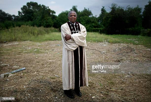 Rev Louis Adams stands on the spot where his former church Holy Ground Baptist Church stood in the Lower Ninth Ward August 27 2007 in New Orleans...