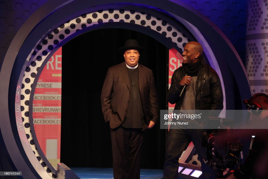Rev Run and <a gi-track='captionPersonalityLinkClicked' href=/galleries/search?phrase=Tyrese&family=editorial&specificpeople=206177 ng-click='$event.stopPropagation()'>Tyrese</a> visit BET's '106 & Park' at 106 & Park Studio on February 4, 2013 in New York City.