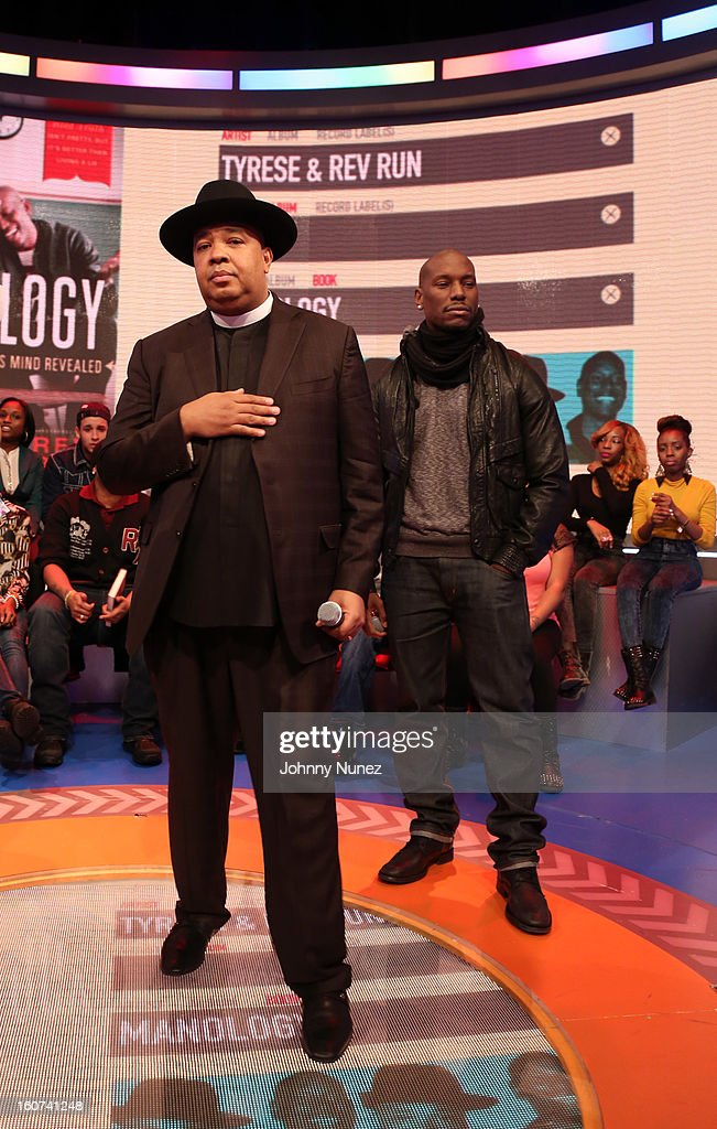 Rev Run and Tyrese visit BET's '106 & Park' at 106 & Park Studio on February 4, 2013 in New York City.