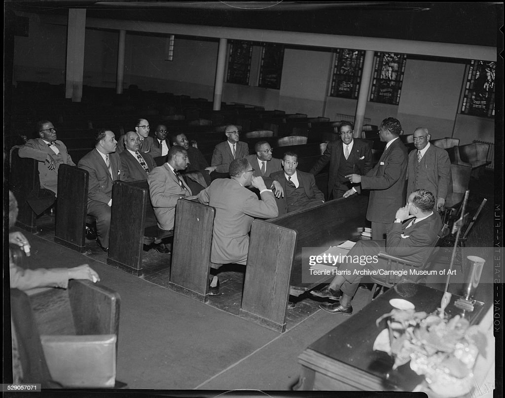 Rev S Amos Bracken addressing Interdenominational Ministers Committee against crime and vice including Revs Cornell E Talley Ramsey Bridges Charles H...