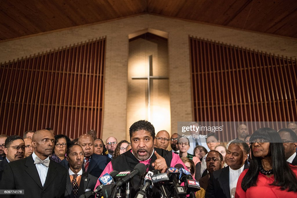 Rev. William Barber addresses the media during a press conference September 22, 2016 in Charlotte, North Carolina. The group is asking for the release of police video of the fatal shooting of 43-year-old Keith Lamont Scott at an apartment complex near UNC Charlotte.