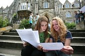 Reva Callan and Catherine King students at the Royal High School celebrate their ALevel results outside their school on August 16 2007 in Bath United...