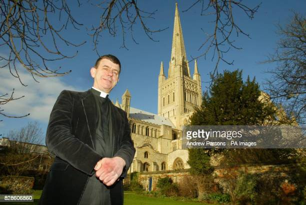 Revd Stephen Platten the current Dean Of Norwich who has just been appointed Bishop Of Wakefield outside Norwich Cathedral