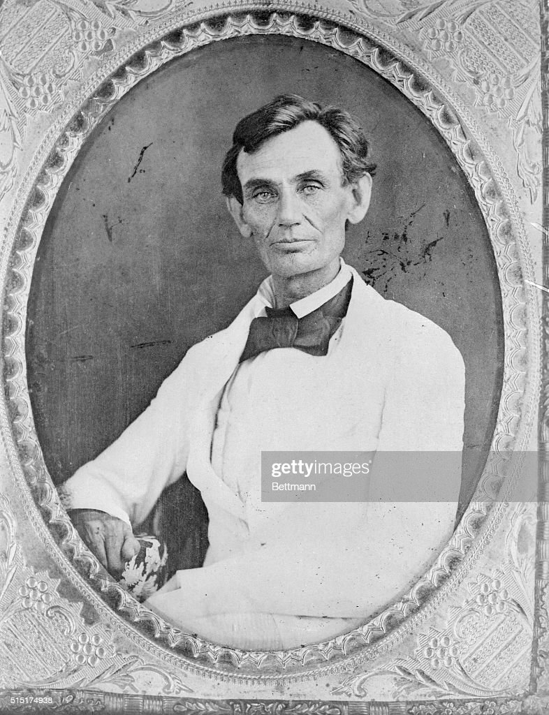 Reveal new Lincoln photograph. Lincoln, Nebraska. previously unpublished, this photograph of <a gi-track='captionPersonalityLinkClicked' href=/galleries/search?phrase=Abraham+Lincoln&family=editorial&specificpeople=67201 ng-click='$event.stopPropagation()'>Abraham Lincoln</a> is considered of great importance by Lincoln experts because of its clear and well-preserved detail. The photograph, made in Beardstown, Illinois, in 1858 by Abraham Byers, was presented to the University of Nebraska by Byers widow. It is believed to be one of the last photos made before Lincoln grew a beard.