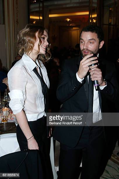 Revelation for 'La Danseuse' LilyRose Depp and her Uncle and Sponsor Guillaume Gouix attend the 'Cesar Revelations 2017' Dinner at Hotel Meurice on...