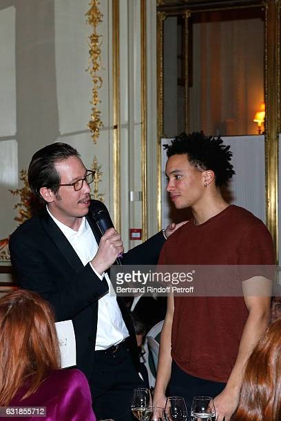 Revelation for 'Quand on a 17 ans' Corentin Fila and his sponsor Reda Kateb attend the 'Cesar Revelations 2017' Dinner at Hotel Meurice on January 16...