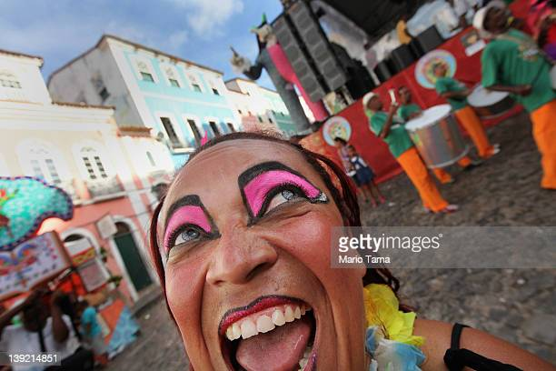 A reveler dances in a parade on the second day of Carnival celebrations on February 17 2012 in Salvador Brazil Carnival is the grandest holiday in...