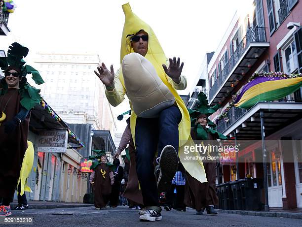 A reveler dressed as a banana makes his way through the French Quarter during Mardi Gras day on February 9 2016 in New Orleans Louisiana Fat Tuesday...