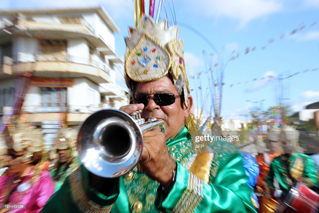 A reveler plays the trumpet during the Carnival parade in the streets of Fort-de-France on the French Caribbean island of Martinique, on February 10, 2013. The Carnaval started on February 9, 2013 and will run until Ash Wednesday on February 13, 2013 when Vaval, a giant papier-mache figure symbolizing the king of the carnival, is burned.