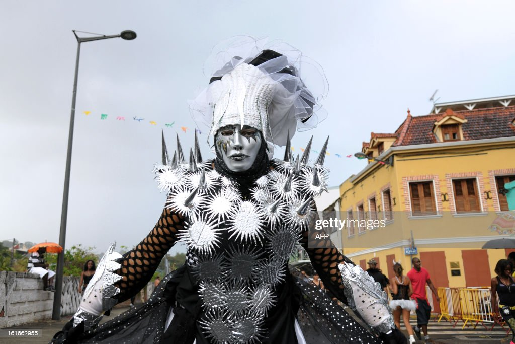 A reveler poses during an Ash Wednesday carnival parade on February 13, 2013 in Fort-de-France on the French Caribbean island of Martinique.